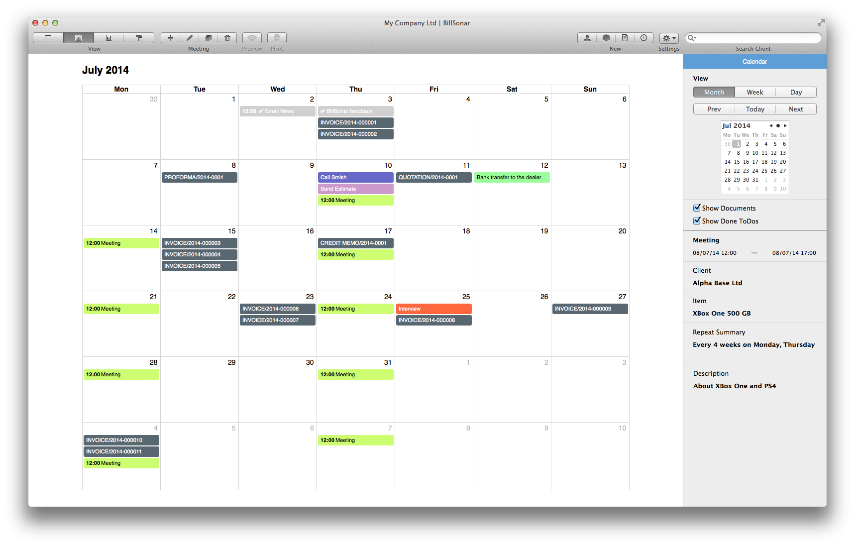BillSonar Invoice Mac OS X Calendar view